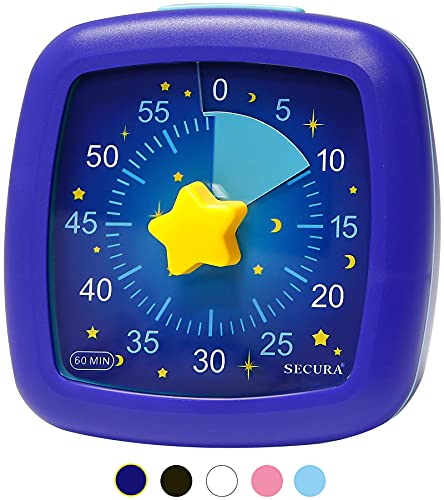 Secura 60-Minute Visual Timer, Silent Study Timer for Kids and Adults, Time Management Countdown Timer for Teaching (Starry Sky)