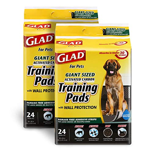 Glad for Pets Activated Carbon Puppy Training Pads, Giant Size, 24 Count - 2 Pack | Charcoal Puppy Pads for Dogs, Large Dog Pee Pads | Super Absorbent and Leak Proof