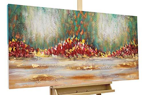 KunstLoft® Acryl Gemälde \'Girdle of Flowers\' 120x60cm   original handgemalte Leinwand Bilder XXL   Abstrakt Blumen Bunt Grün Rot   Wandbild Acrylbild Moderne Kunst einteilig mit Rahmen