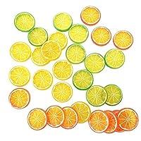 NUOMI 30点 フェイクレモン フルーツ スライス ガーニッシュ 食品サンプル 偽物果物 飾り物 コレクション 写真 撮影 小道具 ホーム パーティー 装飾 オレンジ グリーン イエロー