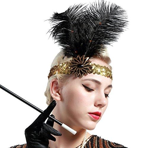 Artideco vintage 1920S Headband 1920S paillettes copricapo piuma fascia con cristallo grande Gatsby costume accessori roaring anni 20accessori