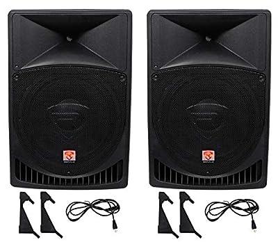 "Pair Rockville Power Gig RPG15 15"" Powered Active 2000 Watt 2-Way DJ PA Speakers from Rockville"