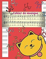 Cahier de Musique: Cahier de partitions - cahier tête de chat pour enfants 13 portées par page - 100 pages - cahier de lecture et d\'écriture des ... / accordéon / tambours. (French Edition)