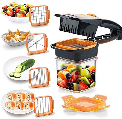 CANTROL Multifunction Vegetable Cutter Manual 5 in 1 Slicer Fruits Cutter, Dicer Grater & Chopper Peeler with Container Box Onion Cutter Kitchen Accessories