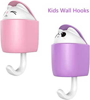 Vividda Pack of 2 Cute Animal Kid Wall Hooks Adhesive Plastic Coat Hang Hooks Decorative, Cartoon Stick Hook for Kids with a Aroma Disk …