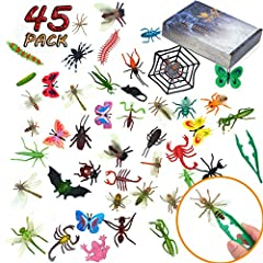 Value Pack. Pack of 45 pieces fake bugs set, large and small sizes mixed. It comes in realistic looking, bright colors and various patterns. The toy bugs set may contain Spider, Big Bee, Cricket, Ladybird, Bat, Frog, Fly, Butterflies, Little Bee, Ant...