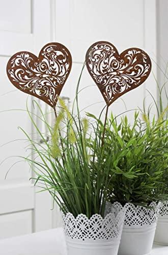 LB H&F 2er Set Gartenstecker Herz Rost Deko Design Stecker 38 cm Gross Beetstecker