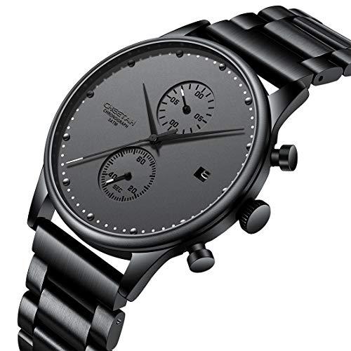 CHEETAH CH1605 - Orologio da uomo, ultra sottile, impermeabile, minimalista, stile business, con datario, analogico, al quarzo, con cinturino in acciaio INOX