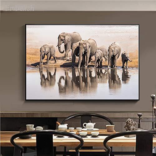 baodanla Geen frame Animal woonkamer muurschildering familie drinkwater landschap poster huis canvas