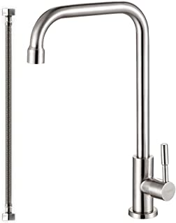 304 Stainless Steel Cold Water Kitchen Faucet Commercial Tap 90 degree Bar Faucet Lead-Free Single Lever Brushed Nickel Modern Saving Water