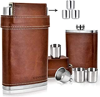 Best GENNISSY 304 18/8 Stainless Steel 8oz Flask - Brown Leather with 3 Cups and Funnel 100% Leak Proof Review