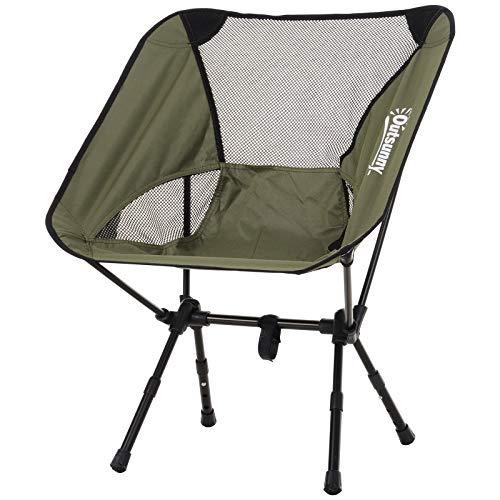 Outsunny Silla de Camping Plegable con Bolsa de Transporte Altura Ajustable Ligera Sporta hasta 120kg Aluminio y Poliéster 58x49x64cm Verde/Azul