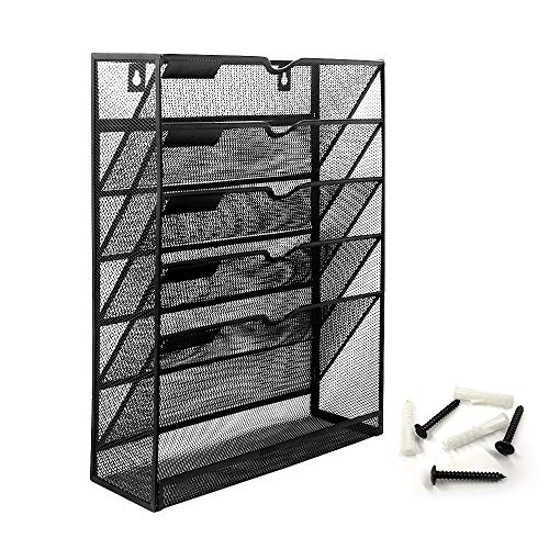 Bonsaii Wall File Organizer Mesh 5-Tier Hanging File Folder HolderVertical Mount Magazine Rack with Bottom Shelf Black W6001