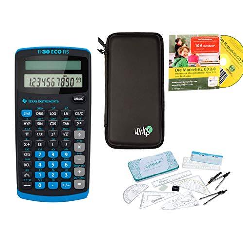Streberpaket: TI-30 ECO RS + Schutztasche + Lern-CD (auf Deutsch) + Geometrie-Set + Erweiterte Garantie