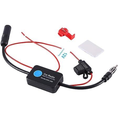 Radio de coche FM AM Antena Amplificador de señal Amplificador para camión RV/Recogida/Motocicleta/Barco/Carro de golf Antena de coche Amplificador de señal de 12V Mejora