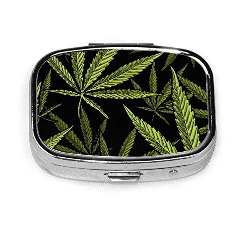 Pastillero cuadrado de plata con hojas de marihuana dibujadas a mano, organizador para bolsillo o bolso