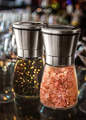SKEMIX Salt and Pepper Grinder Set - These Glass Stainless Steel Mill/Shaker Grinders Are Perfect For Grinding Pink Himalayan Celtic Sea Salt n Black Pepper or Any Combined Kosher Combo of Spices