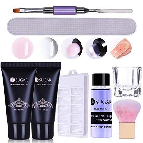 UR SUGAR 30ML Poly Unghie Gel Kit Poligel Unghie Kit con Slip Solution Acrigel Kit Completo Poligel Ricostruzione Unghie 2Pcs Kit Acrigel Completo Professionale