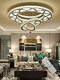 31.5inches Remote Dimming Chandelier Living Room Modern K9 Crystal Chandeliers Lampara Led Ceiling Lamp Ring Bedroom Dining Room Round Fixtures Shandaler (3500K-6500K) Lighting