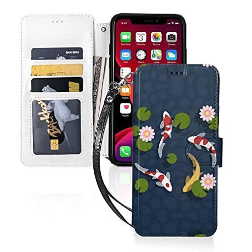 LINGF Custodia per telefono,custodia giapponese per laghetto con pesci Koi per iPhone 11 Pro Custodia carina per donna Custodia in pelle per portafoglio con custodia protettiva per cinturino