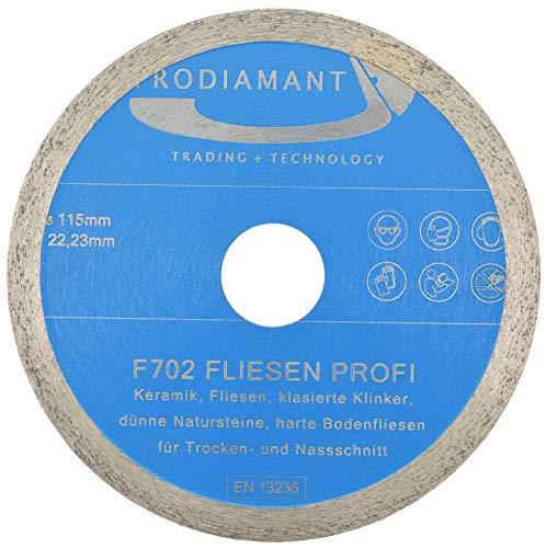 PRODIAMANT Profi Diamant-Trennscheibe PRORIM 115 mm x 22,23 mm kein ausbrechen bei glasierten Fliesen Feinsteinzeug Keramik Diamanttrennscheibe F702 115mm mit Bohrung 22,23mm