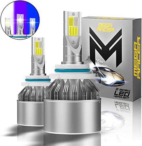 Mega Racer H10/HB3/9005 LED Headlight Bulbs, 3 Colors Changing Lights (6000K Diamond White, 8000K Ice Blue, 10000K Dark Blue) for High Beam, Low Beam, or Fog Light, 50W 8000 Lumen COB IP68, Pack of 2