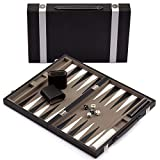 GSE Games & Sports Expert Small/Medium/Large Leather Backgammon Board Game Set (Black&Grey, Large)