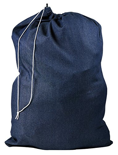 Laundry Bag - Locking Drawstring Closure and Machine Washable. These Large Bags Will Fit a Laundry Basket or Hamper and Strong Enough to Carry up to Three Loads of Clothes. (Denim)