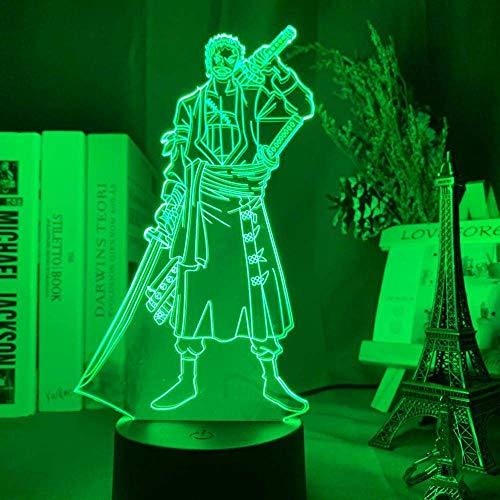 Lámpara de ilusión 3D Led luz nocturna Roronoa Zoro Figura para decoración de habitación de niños, anime japonés, una pieza regalo fresco lámpara de mesita de noche