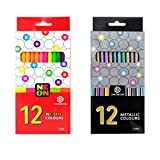 Matite colorate per artisti 24 Lapis de Cor profissional 12 pezzi Set di matite colorate al Neon metalliche in Legno Nero e matite colorate