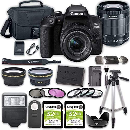 Canon EOS 800D (Rebel T7i) DSLR Camera Bundle with 18-55mm STM Lens + 2pc Kingston 32GB Memory Cards + Accessory Kit
