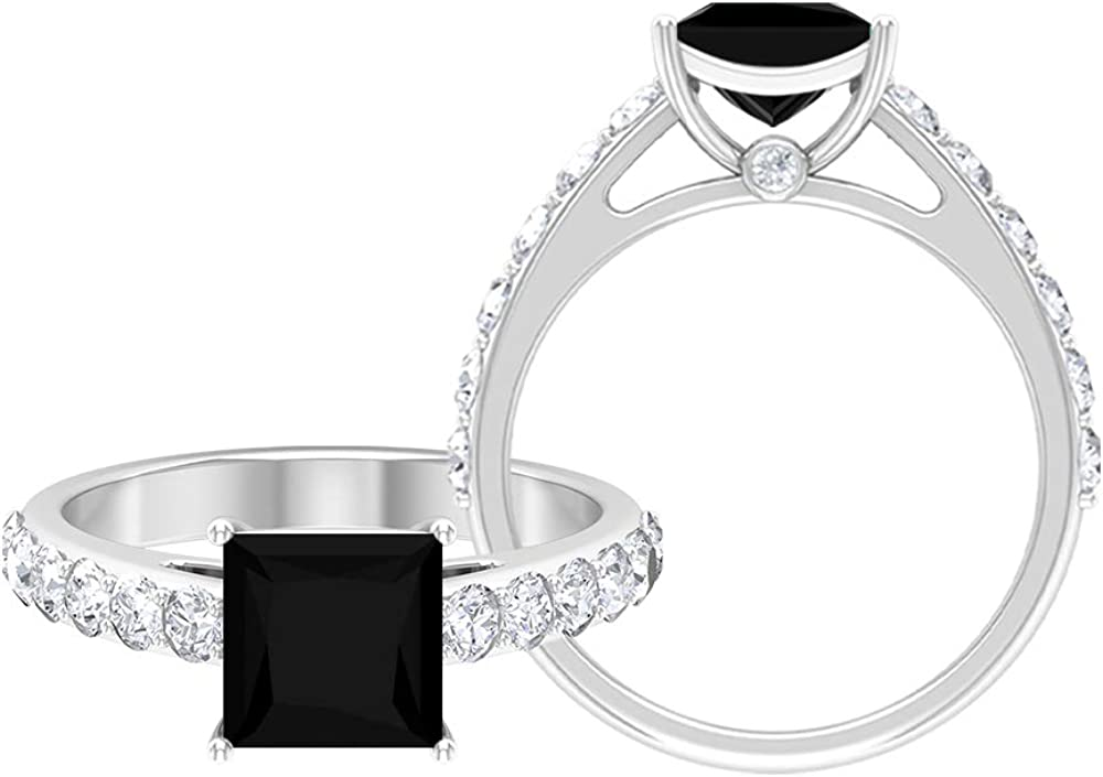 2.50 CT Lab Created Black Diamond Solitaire Ring with Moissanite Accents (7 MM Princess Cut Lab Created Black Diamond), 14K White Gold, Size:US 7.0