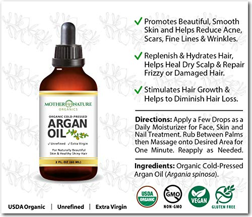 Argan Oil - 100% Pure Argan Oil for Hair, Face, Skin & Nails (8oz) - USDA Certified Organic Argan Oil of Morocco, Cold Pressed, Vegan, Non-GMO, Unfiltered & Natural Anti-Aging Moisturizer