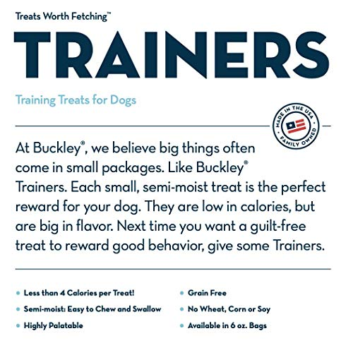 Buckley Trainers All-Natural Grain-Free Dog Training Treats, Peanut Butter, 6 oz