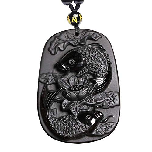 Natural Black Obsidian Carving Fishes Amulet Stone Pendant Necklace Bead Chain Long Necklace Fine Jewelry Gift