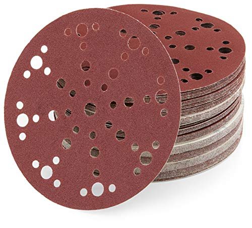 Papel de lija de 150 mm, con velcro, con 48 agujeros, K40, 45 unidades, de WAbrasive, para lijar madera, compatible con Festool Rotex 150 con disco de lijado de 150 mm, velcro d150