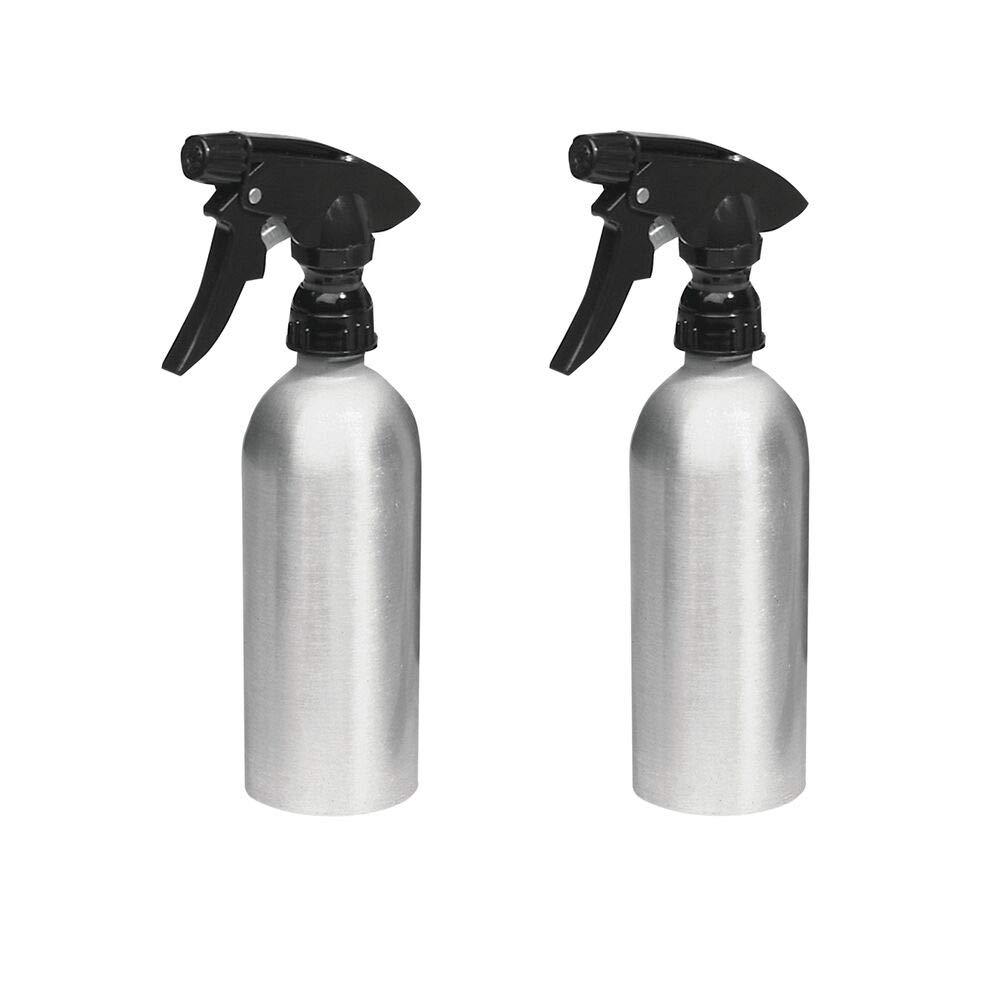 mDesign Pulverizador de Agua vacío (Juego de 2) – Rociadores de Agua Recargables de Aluminio para la casa y el jardín pulverizador para regar Plantas – Color: Plateado/Negro: Amazon.es: Hogar