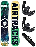 AIRTRACKS Snowboard Set - Tabla North South 156cm - Fijaciones Master FASTEC L - SB Bag