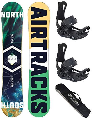 AIRTRACKS Snowboard Set - Tabla North South 156cm - Fijaciones Master FASTEC L - SB Bag