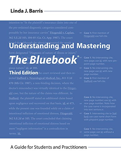 Compare Textbook Prices for Understanding and Mastering The Bluebook: A Guide for Students and Practitioners Legal Citation, Third Edition Third Edition ISBN 9781611637748 by Linda J. Barris