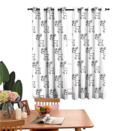Living Room Grommet Insulation Curtain Home Curtain Cute Reindeer Doodle Snowy Winter Cheering Fun Illustration Children Child Art Black Red White for Home Decoration Set of 2 Panels W72 x L62