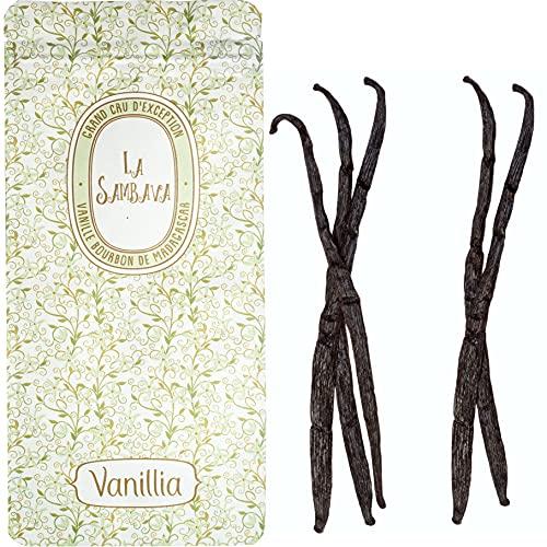 VANILLIA • 5 Gousses de Vanille Bourbon de Madagascar LA SAMBAVA • 16-18cm • GRAND CRU DEXCEPTION • Le meilleur de la récolte • Sachet fraîcheur ZIP refermable & éco-responsable