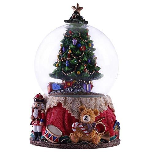 IADZ Caja de música, caja de música luminosa giratoria caja de música de resina con luces árbol de Navidad