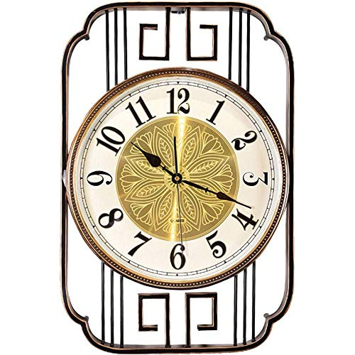 DHTOMC Reloj de pared KWLL nuevo chino simple decoración reloj hogar sala de estar arte creativo silencioso pared reloj decorativo material metal, movimiento silencioso