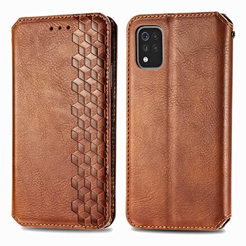 TOPOFU Leder Folio Hülle für LG K42, Premium PU/TPU Flip Wallet Tasche mit Kartenfächern, Magnetic, Book Style Lederhülle Handyhülle Schutzhülle (Braun)