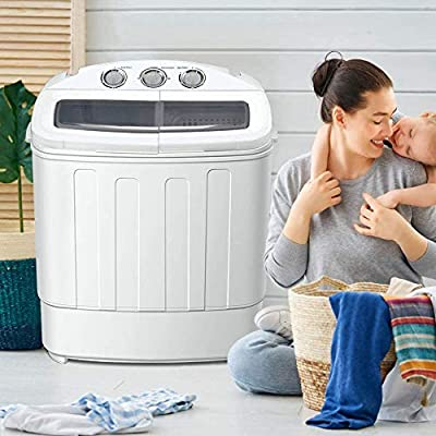 Twin Tub Washing Machine 2-in-1Washing Machine Washer with Spin-Dryer for Camping Dorms Apartments College Rooms, 220V UK Plug (23.22 x 13.78 x 26.38in)