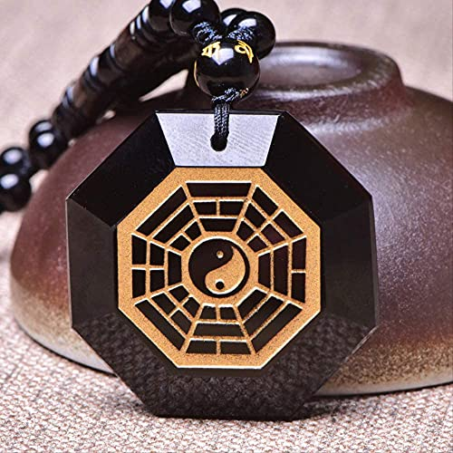 ZYLZL Collar para hombre, colgante, obsidiana negra, chapado en oro, Tai Chi, colgante de anís estrellado, cadena libre para joyería masculina de jade fino