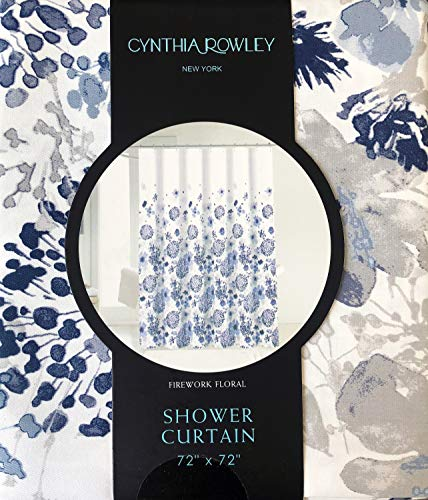Cynthia Rowley Fabric Shower Curtain Geometric Floral Bursts Pattern in Shades of Blue and Gray - Firework Floral