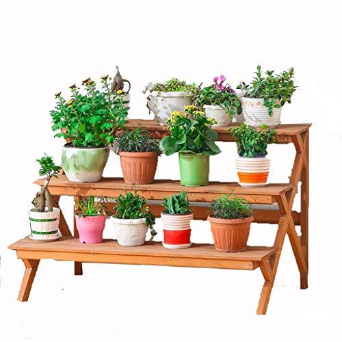 QTDS Présentoir décoratif pour Pot à Fleurs - intérieur/extérieur - Couleur Bois