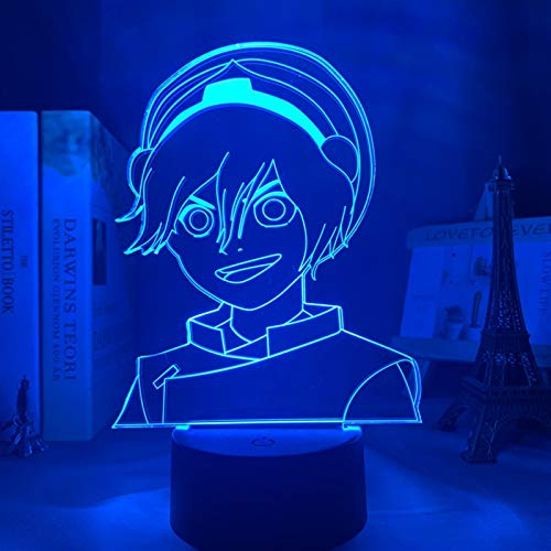 ZGJ 3D Led Anime Lamp Avatar The Last Airbender Toph Beifong Lamp for Home Decor Birthday Gift Led Night Light Avatar Bedroom Decor Light (Color : 7 Colors no Remote)
